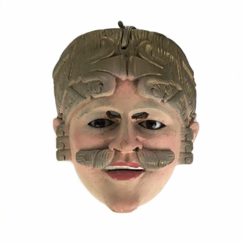 Luiz Ricardo Ignacio Ventura. Wood Mask with Mustache, Blond Hair. Chichicastena