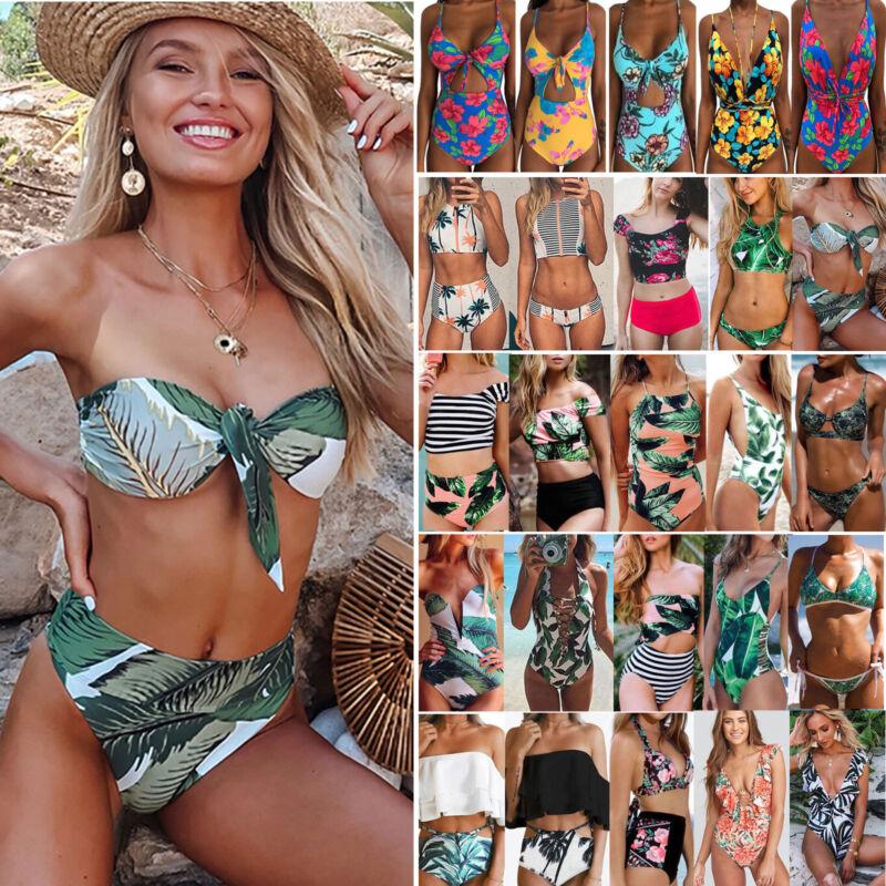 Damen Hohe Taille Gepolstert Bikini Set Monokini Badeanzug Bademode Schwimmanzug