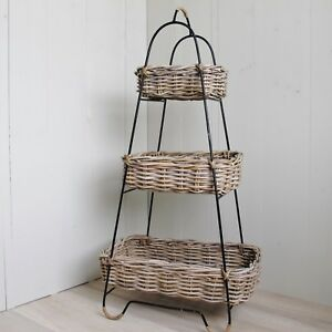 3 Tier Fruit Vegetable Rack Holder Stand Grey Rattan Wicker Storage Basket