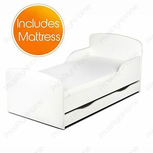 PLAIN WHITE MDF TODDLER BED + MATTRESS WITH STORAGE KIDS