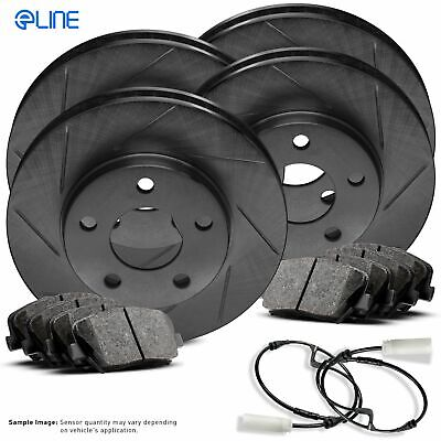 For BMW 760i, 760Li, 750i Front Rear Black Slotted Brake Rotors+Ceramic Pads