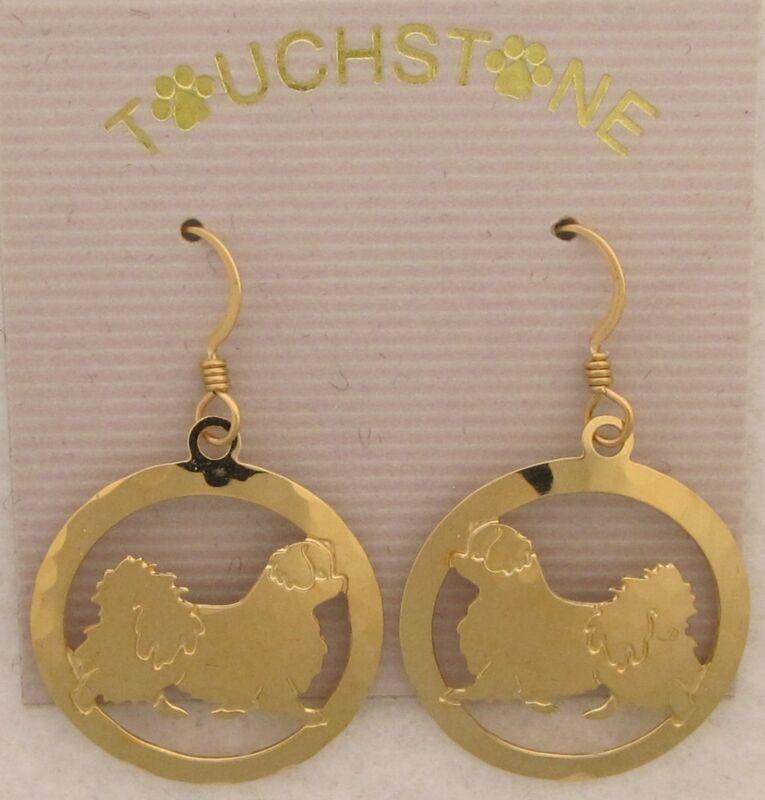 Tibetan Spaniel Jewelry Gold Dangle Earrings by Touchstone Designs