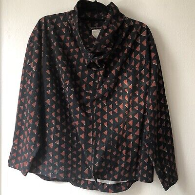 Issey Miyake Vintage 1980s Triangle Print Cowl Neck Pullover Shirt Jacket