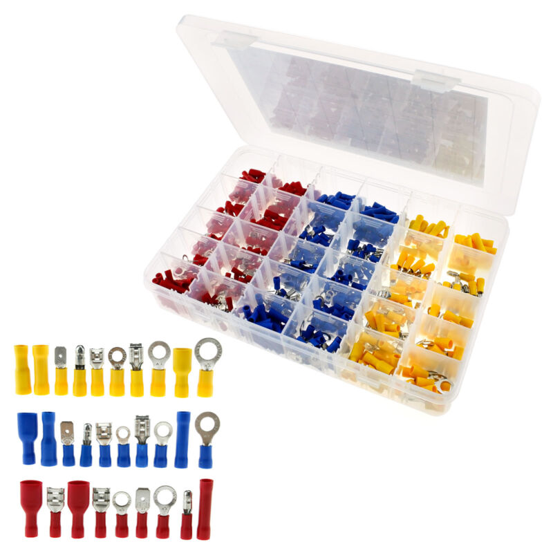 480X Assorted Electrical Wire Terminals Set Insulated Crimp Connectors Spade