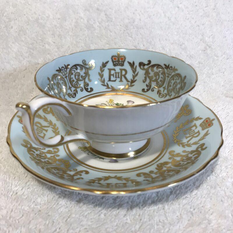 Paragon Tea Cup Saucer China England Queen Elizabeth II Coronation 1953 Exc Cond