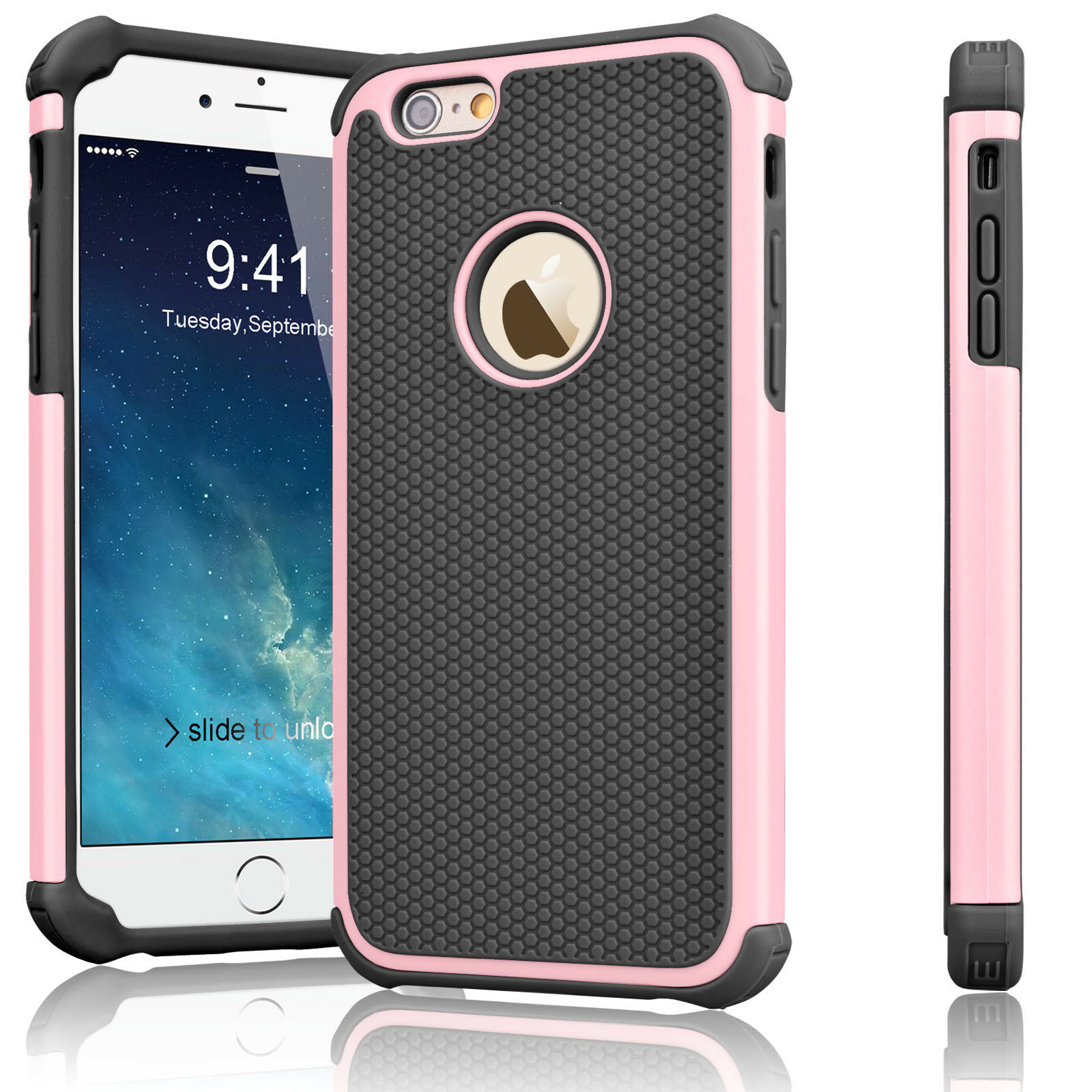 For iPhone 6 5S 7 8 Plus Case Shockproof Hybrid Dual-Layer Silicone Hard Cover