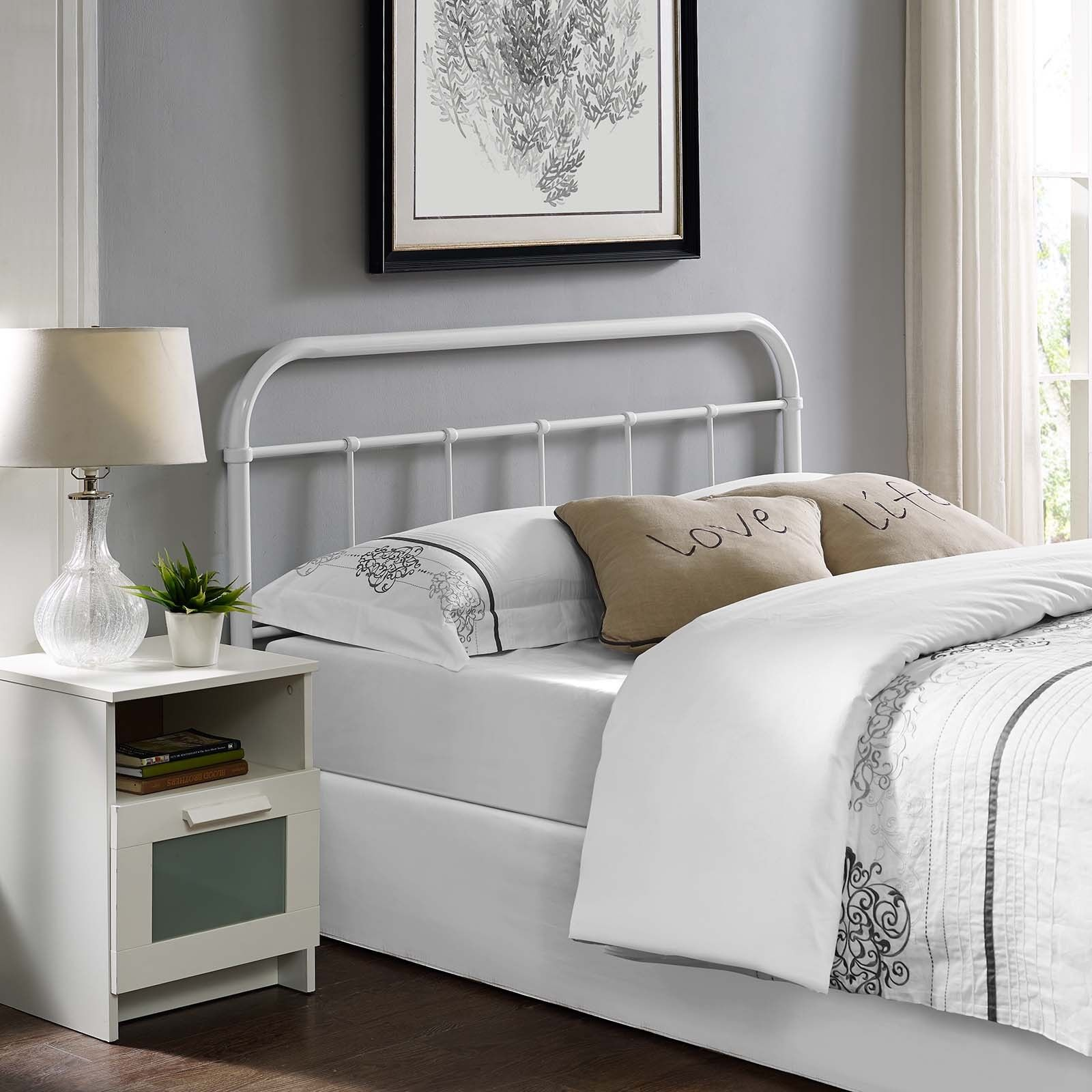 Details About Bedroom Furniture Rustic Modern Farmhouse White Steel Metal Queen Size Headboard