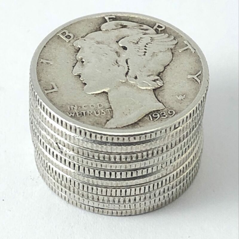 (10) Silver Mercury Dimes 1916-1945 Lot of 10