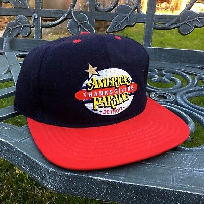 Thanksgiving Hat (VTG 90s American Thanksgiving Day Parade Detroit Snapback Hat Wool Made in USA)