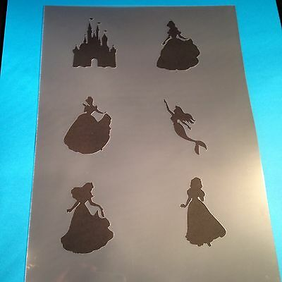 Disney Princess Stencil Template Flags cake girls Paint Craft Fabric Brush room