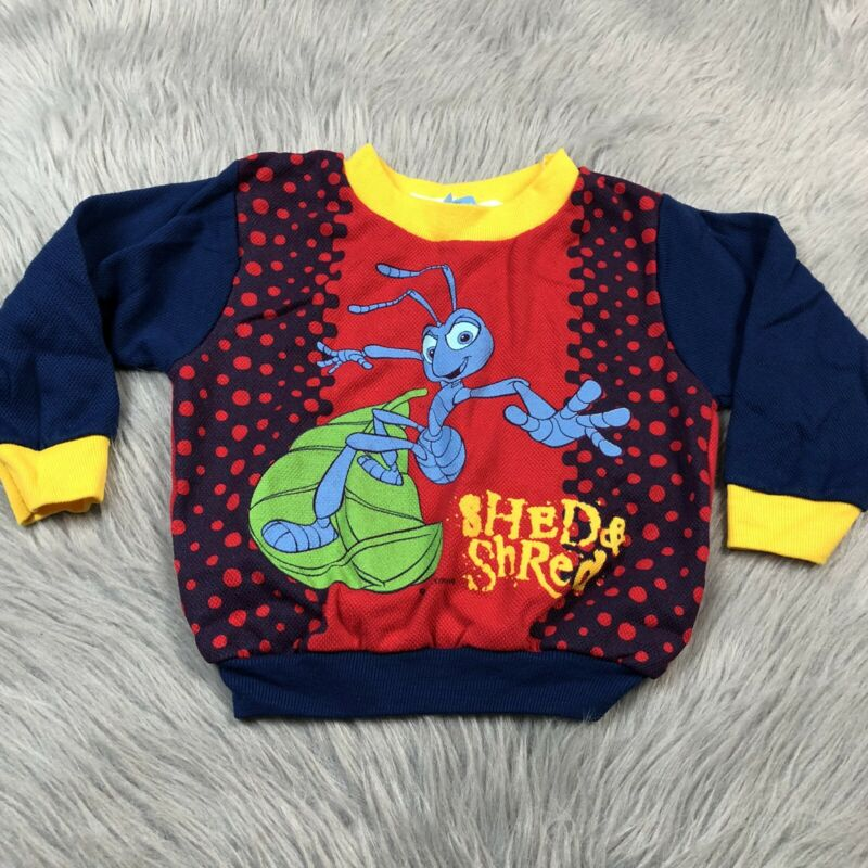 Vintage A Bugs Life Disney Blue Red Flick Toddler Sweater Long Sleeve