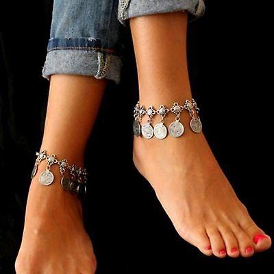 ☆ Silberne Fußkette   Münzen Anhänger   Länge 20-24cm   Silber Edelmetall ☆