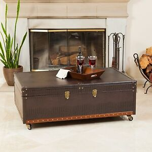 vintage design rolling storage leather bar coffee table w. Black Bedroom Furniture Sets. Home Design Ideas
