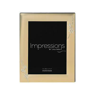 Impressions Gold Photo Frame with Crystal Flowers Photo Picture Frame