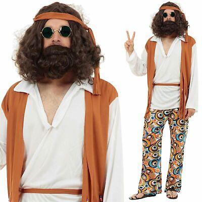 Herren Erwachsene Hippie Kostüm Kleid Outfit 60s Woodstock - Herren Kostüm Woodstock