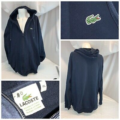 Lacoste Alligator Hoodie Jacket 4XL Tall 10L Blue Cotton Full Zip YGI B0-591