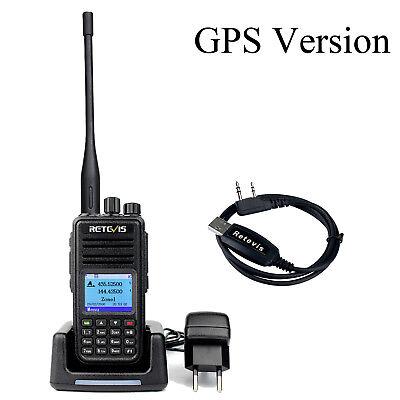 Retevis RT3S GPS Version Dual Band(UHF/VHF) DMR Walkie Talkie Amateur Radio +USB
