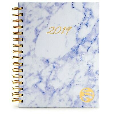 2019 Planner Hardcover - Daily Weekly Monthly A5- Stickers Pockets.. Marble