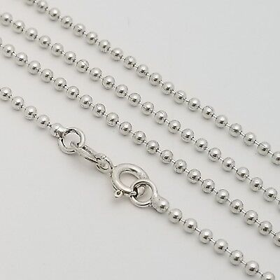 925 Sterling Silver Small 2'mm Beaded Ball 20' Inch Chain Necklace