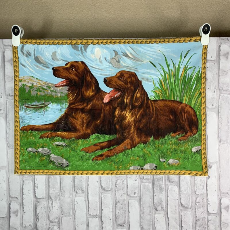 Irish Setter Tapestry Tea Towel  Les Setters Creation Sonacall France Dog Lover