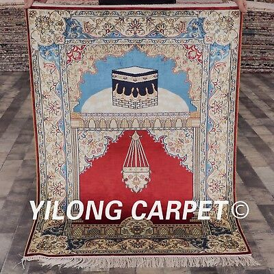 Red Carpets For Sale (Yilong 2.8'x4' For Prayers Handmade Silk Rugs Red Hand Knotted Carpets Sale)