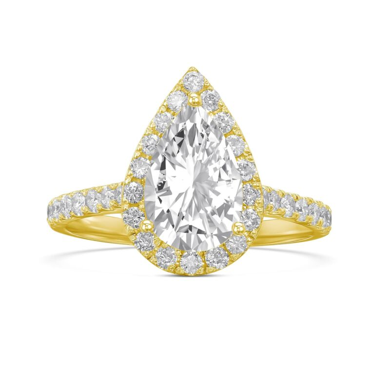 Real Diamond Engagement Ring D/vs2 1.50 Ct Pear Cut 14k Yellow Gold