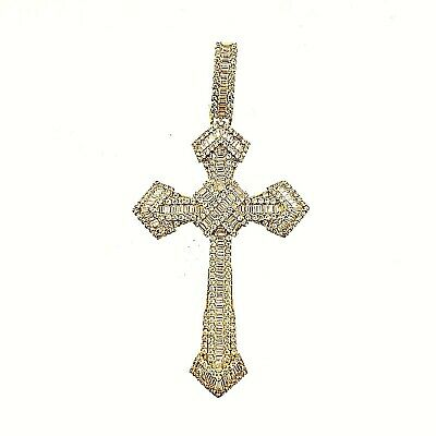 14K Gold Plated 925 Sterling Silver Baguette CZ Cross Hip Hop Charm Pendant -