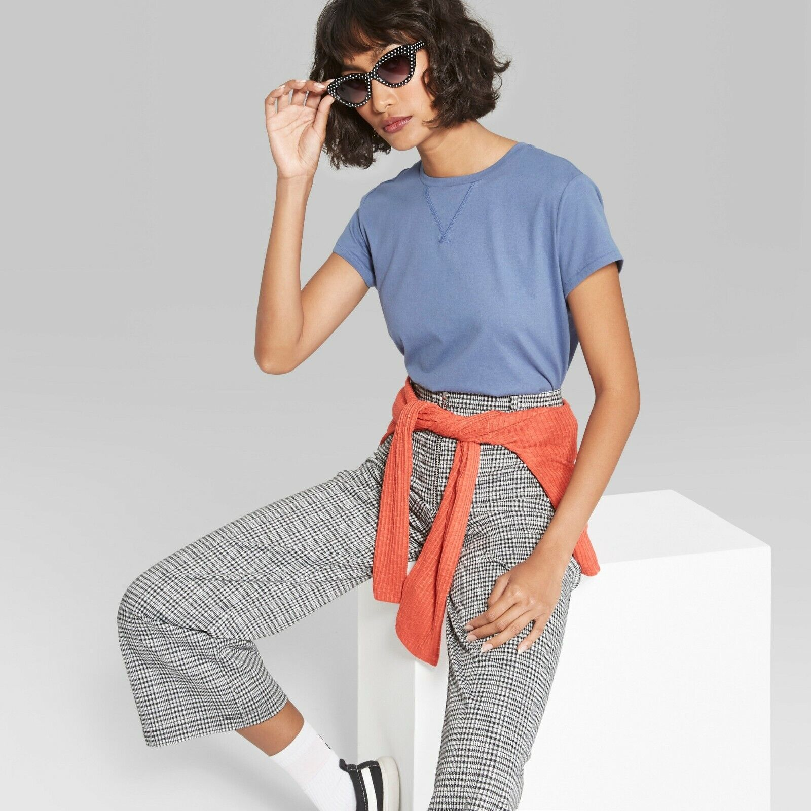 Women's Short Sleeve Crew Neck Cropped T-Shirt Boxy – Wild Fable Blue Xxl Clothing, Shoes & Accessories