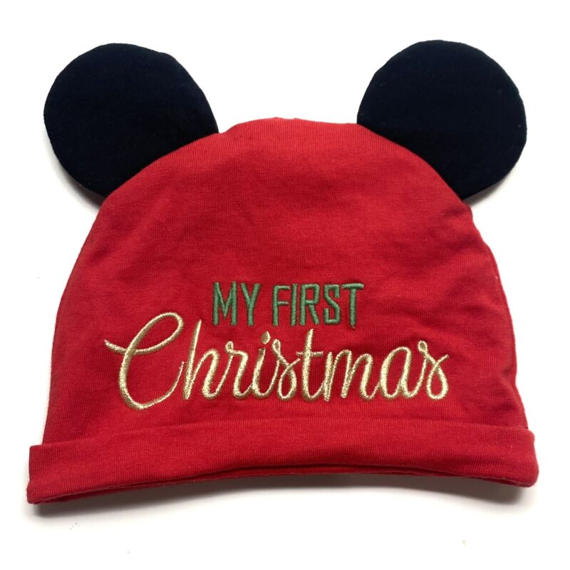 Disney Baby Infant My First Christmas Embroidered Mickey Ears Beanie Hat Red