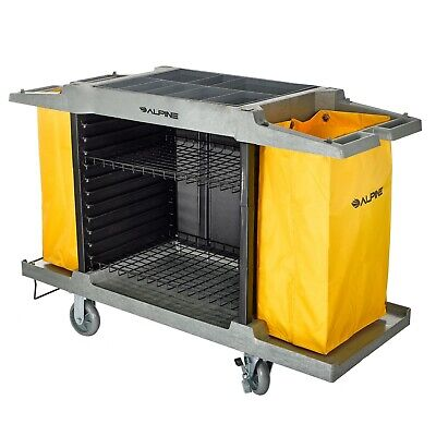 Alpine Industries 2 Shelf Janitor Platform Housekeeping Commercial Cleaning Cart