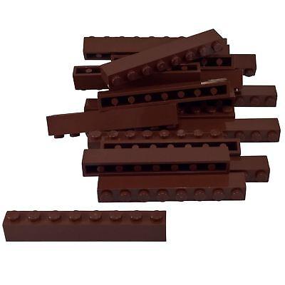 20 NEW LEGO Brick 1 x 8 Reddish Brown