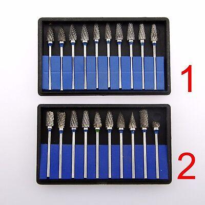 10 Pcs Dental Lab Polishing Drills Tungsten Steel Carbide Burs Set