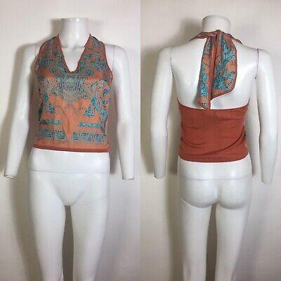 Rare Vtg Gianni Versace Orange Silk Halter Top XS 38