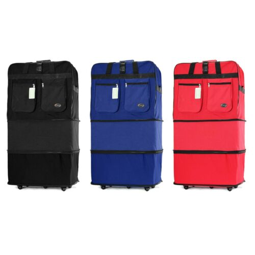 """30"""" 36"""" Rolling Wheeled Duffle Duffel Bag Spinner Suitcase Luggage Expandable"""