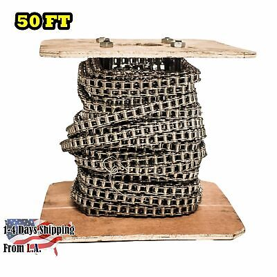 #40 SS Stainless Steel Roller Chain 50 Feet with 5 Connecting Links