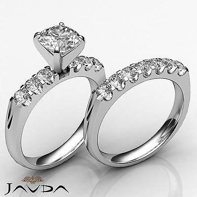 French U Pave Round Diamond Engagement Bridal Set Ring GIA Certified I VS2 1.8Ct