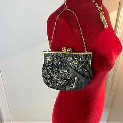 1920s Style Purses, Flapper Bags, Handbags Vintage Evening Gold Metallic Small Purse 1920s 1930s Clutch Handbag Party  $43.00 AT vintagedancer.com