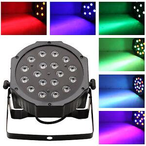 18W 6 Channel RGB Led Flat Par Light for Club Bar DJ Stage Party DMX Control