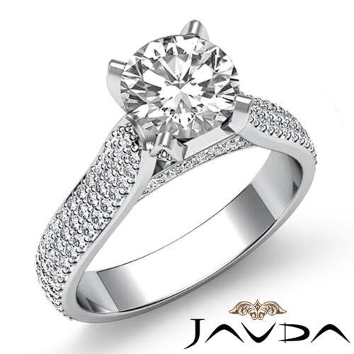 2.45ct Brilliant Cut Round Diamond Engagement Pave Set Ring GIA F VVS2 Platinum