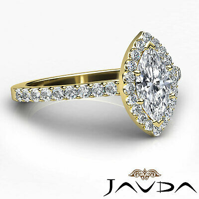 Halo French Pave Set Marquise Diamond Engagement Anniversary Ring GIA H VS1 1Ct 2
