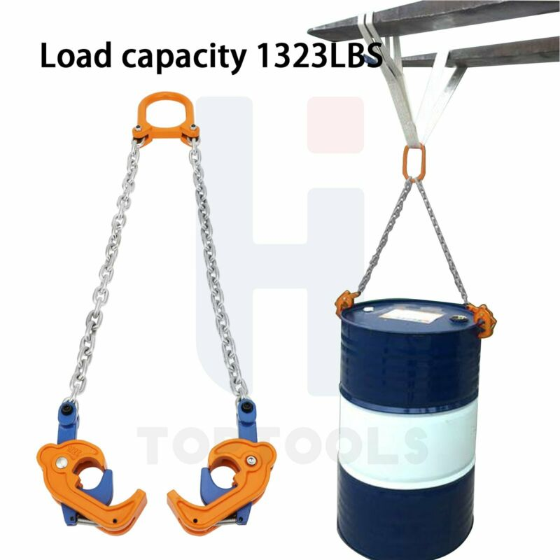 1323 Lbs Chain Drum Barrel Lifter For Warehouse Fork Lifting Secure Reliable