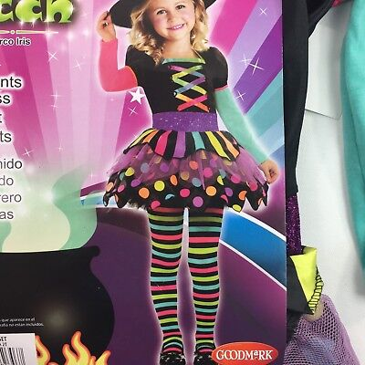 Toddler Witch Costumes (Halloween Rainbow Witch Costume Neon Girls Toddler Size 2T Dress)