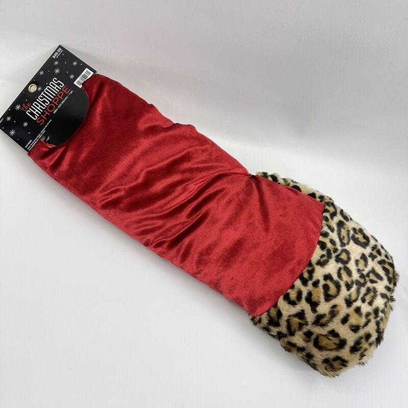 """New 48"""" Christmas Shoppe Tree Skirt Red Velvet & Fuzzy Leopard Print Padded"""