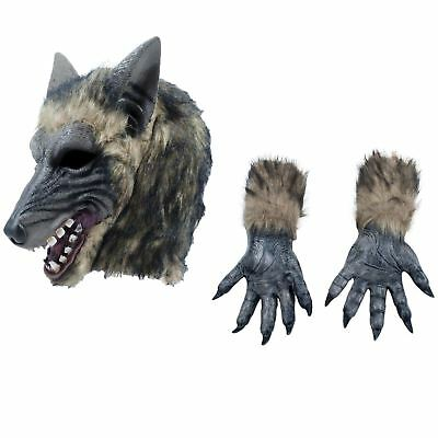 Erwachsene Werwolf Wolf Grau Märchen Halloween Klauen Handschuhe Kostüm Set