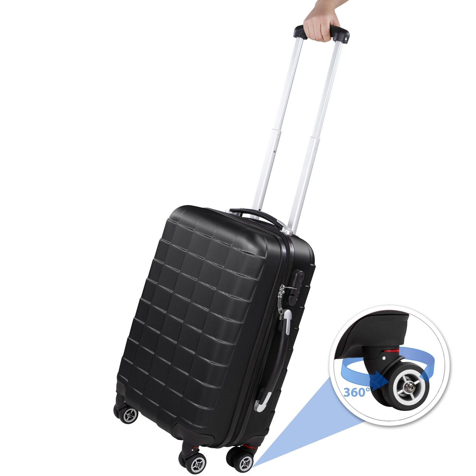 Set de 3 valises de voyage coque ABS léger rigide bagages valise trolley noir 1