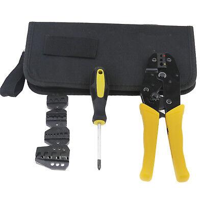 5 Dies Pro Ratchet Terminal Crimper Wire Crimping Pliers Tool Kit 0.5-35 Mm