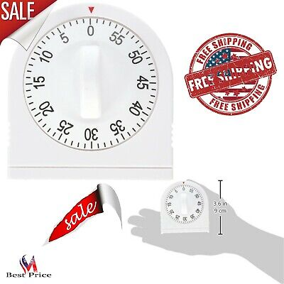 White Kitchen Timer 60 Minutes Extra Long Ring Mechanical No Batteries Needed
