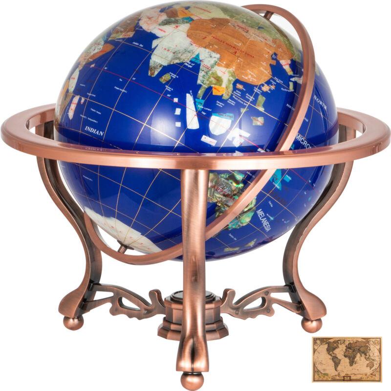 "Unique 21"" Tall Blue Lapis Tripod Gold Leg table Gem Gemstone World Map Globe"