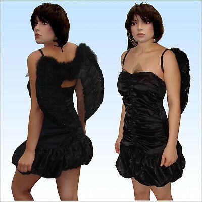 Kostüm Schwarzer Engel mit Flügeln Gr. 36/38 Engelskostüm teuflischer - Kostüm Mit Schwarzen Flügeln