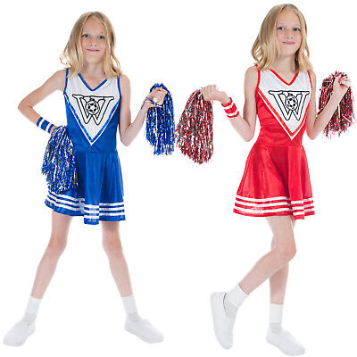 Girls Cheerleader Costume and Wristbands High School Sports Uniform Fancy Dress - Cheerleader Dress Up Costume